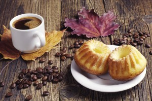 Cupcake, coffee and autumn leaves