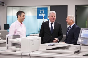Pictured at the launch of the new Ricoh Document Services Centre in Glasnevin are (l-r) Gary Owens, manager, Ricoh Ireland Print and Document Services; Phil Keoghan, CEO, Ricoh UK & Ireland; and Gary Hopwood, general manager, Ricoh Ireland